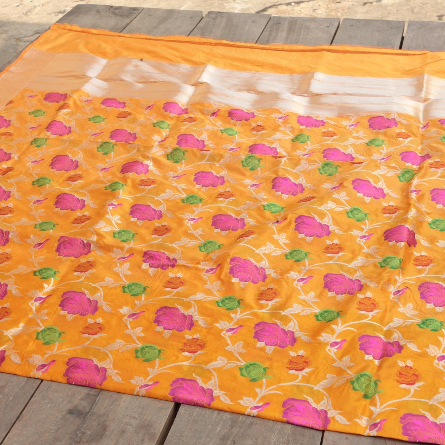 Orange-Yellow Pure Katan Silk Banarasi Handloom Dupatta - Tilfi