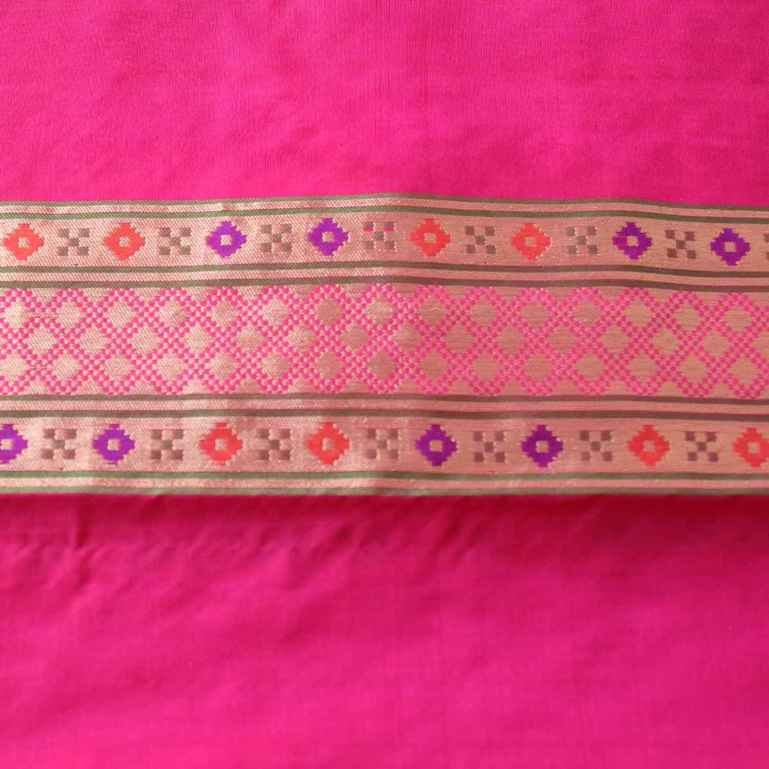 Indian Pink-Red Shot Color Pure Katan Silk Patola Banarasi Handloom Saree - Tilfi - 5