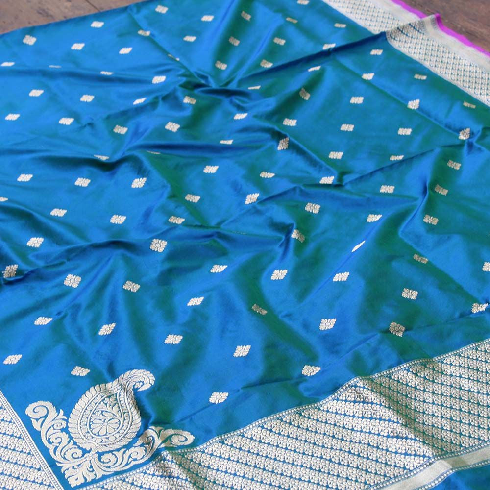 Green-Royal Blue Pure Katan Silk Banarasi Handloom - Tilfi