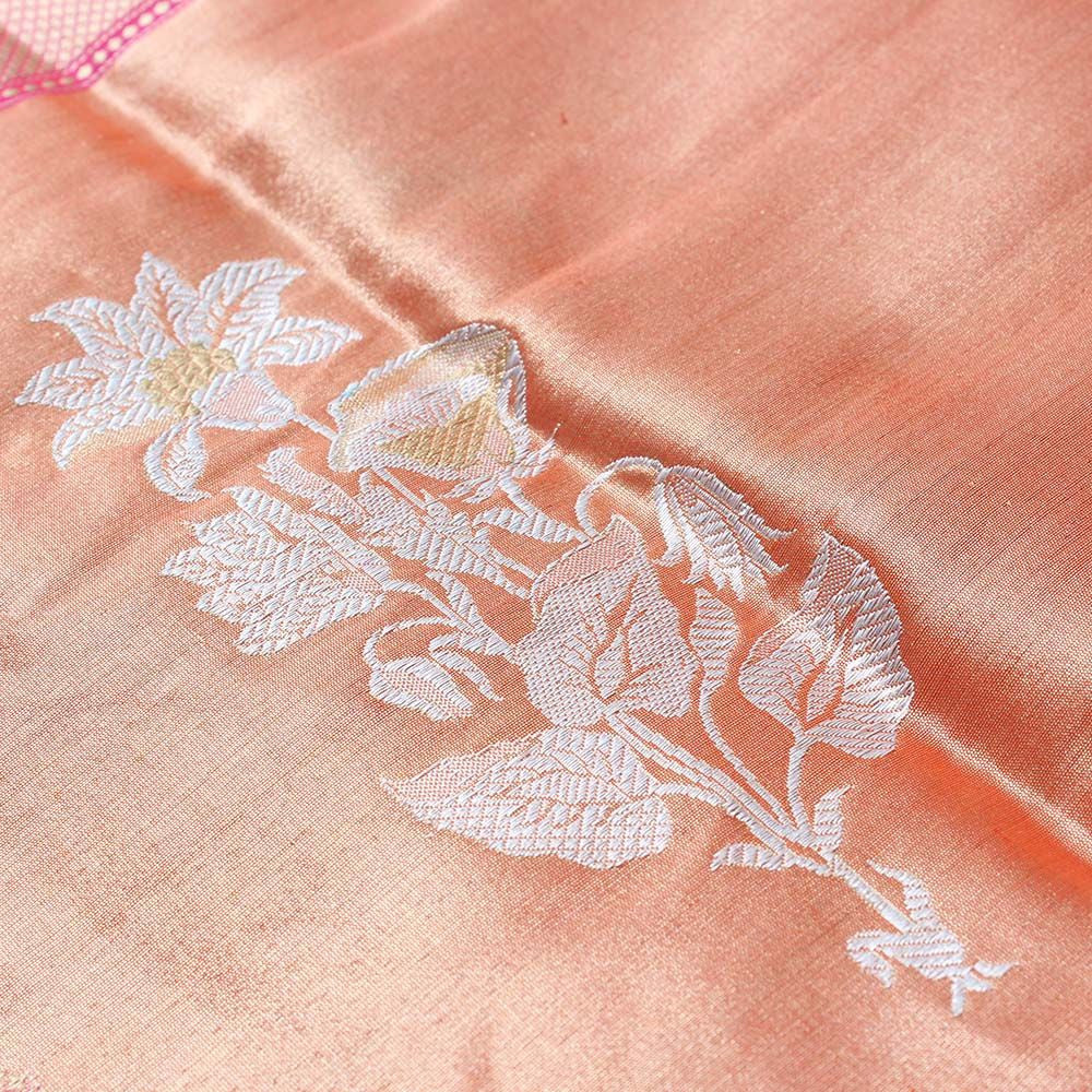 Orange-Indian Pink Pure Katan Silk Banarasi Handloom Saree - Tilfi