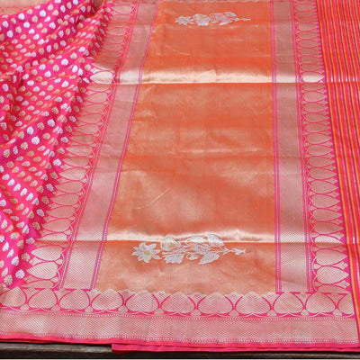 Orange-Indian Pink Pure Katan Silk Banarasi Handloom Saree - Tilfi - 3