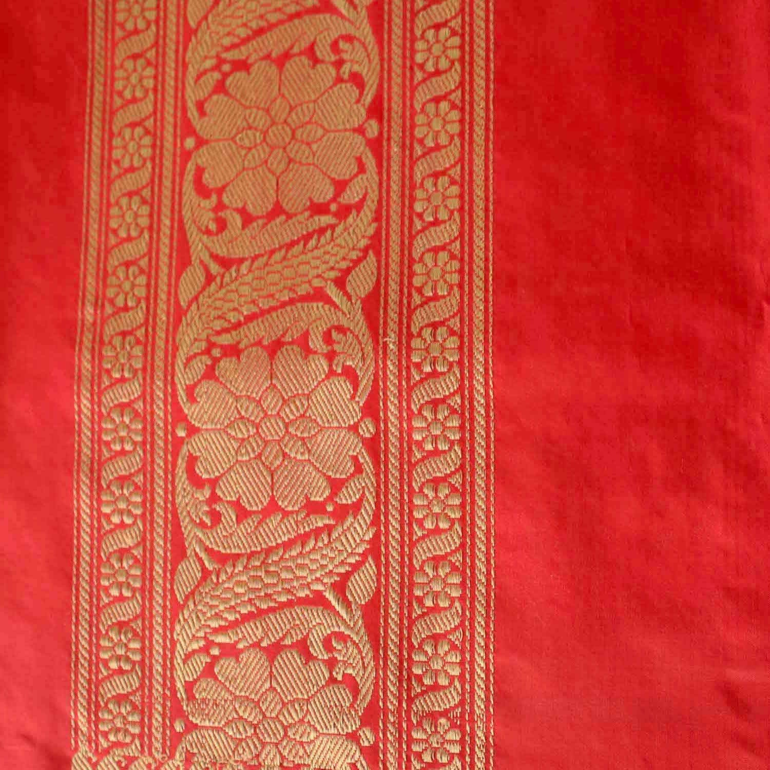 Red Pure Katan Silk Banarasi Handwoven Saree - Tilfi - 4