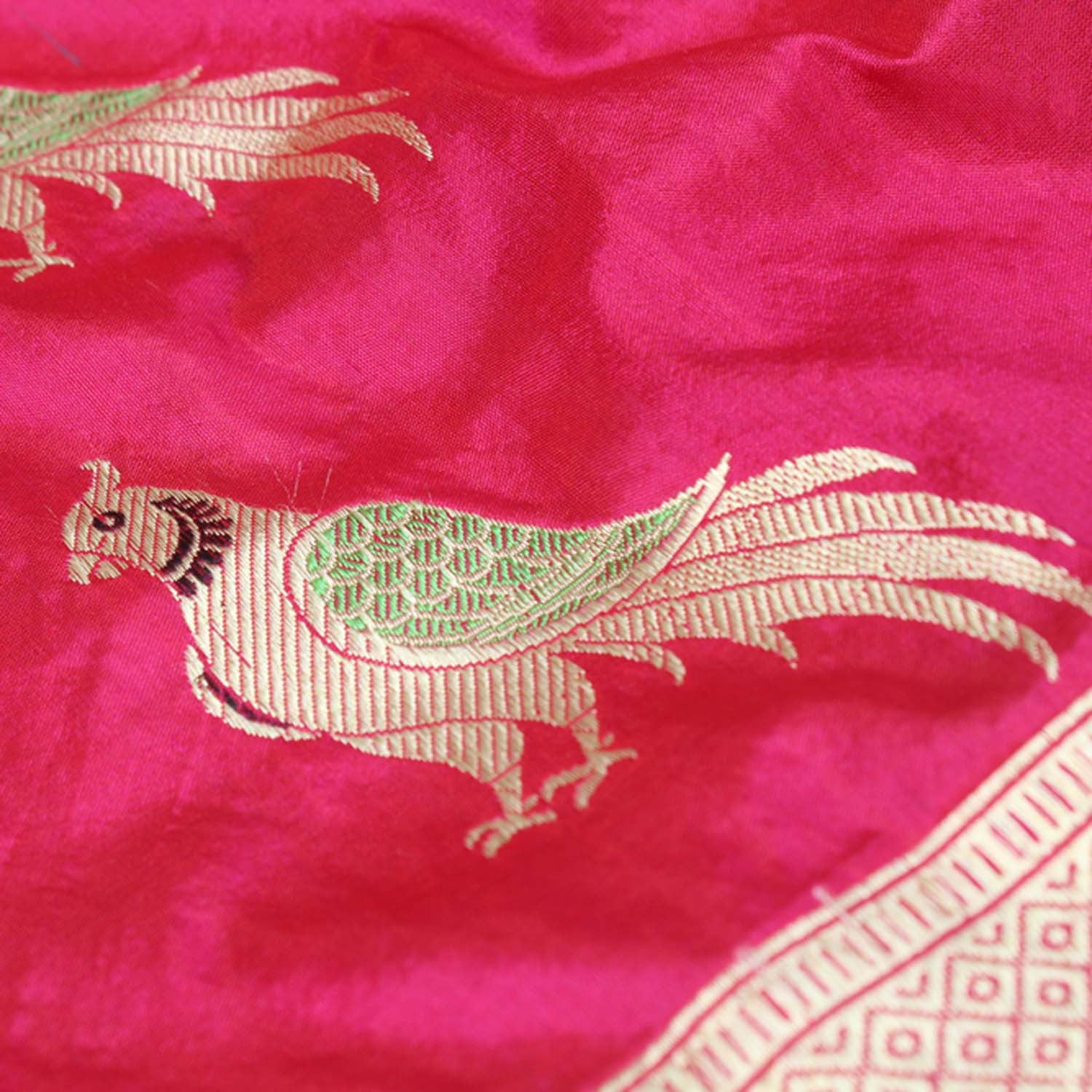 Red-Indian Pink Pure Katan Silk Banarasi Handloom Dupatta - Tilfi - 3
