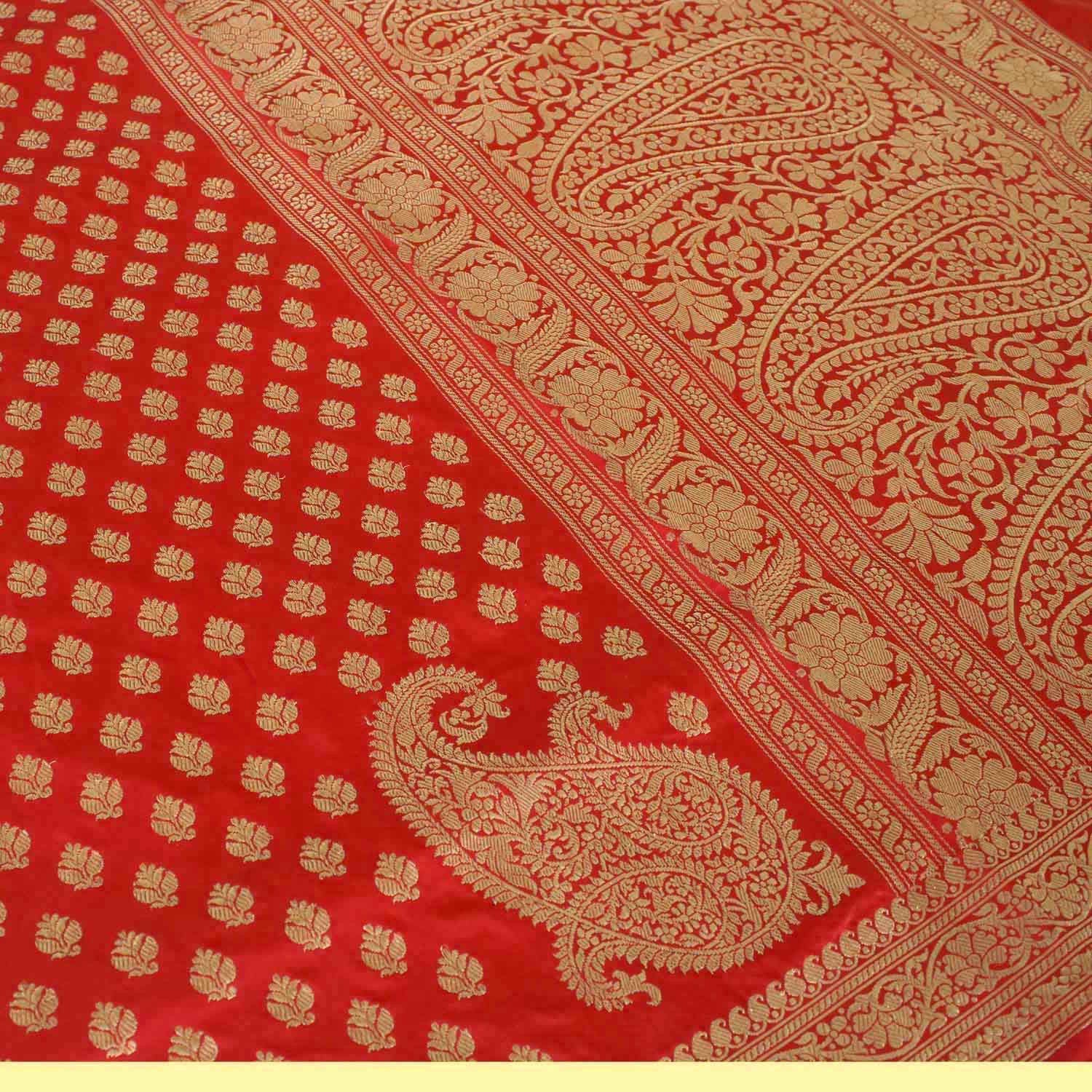 Red Pure Katan Silk Banarasi Handwoven Saree - Tilfi - 3