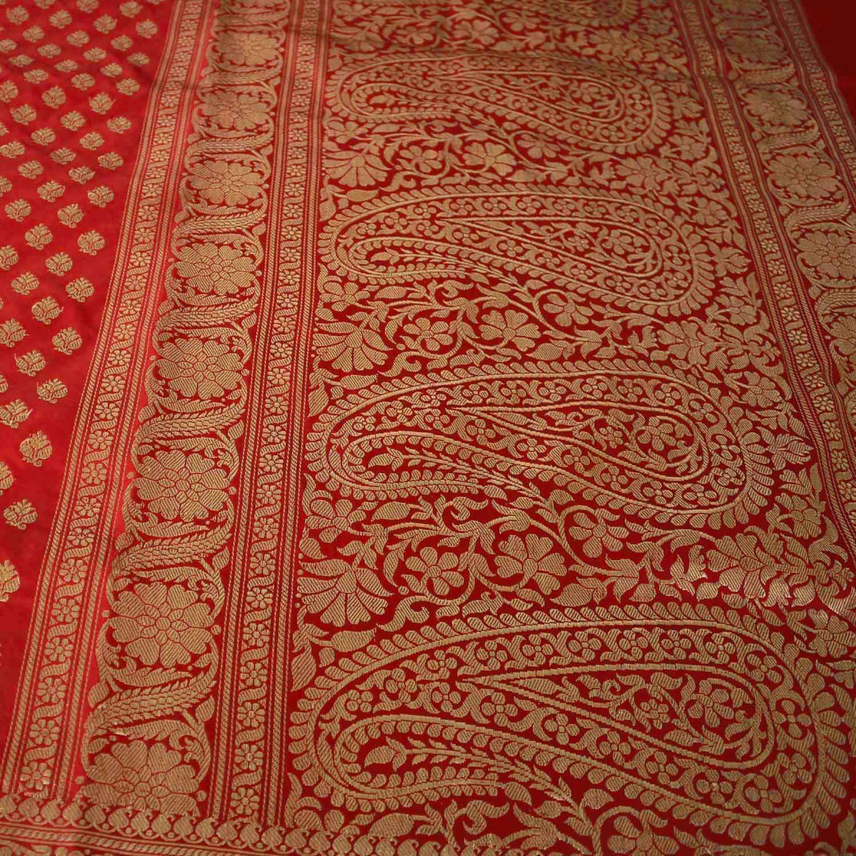 Red Pure Katan Silk Banarasi Handwoven Saree - Tilfi - 2