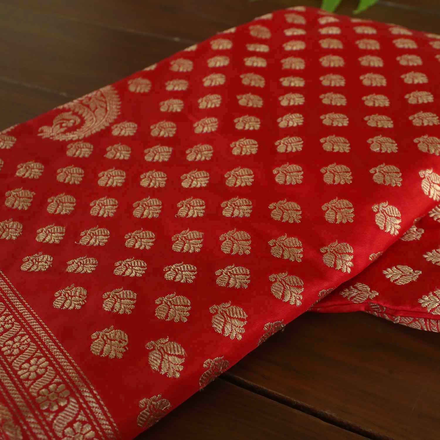 Red Pure Katan Silk Banarasi Handwoven Saree - Tilfi - 1