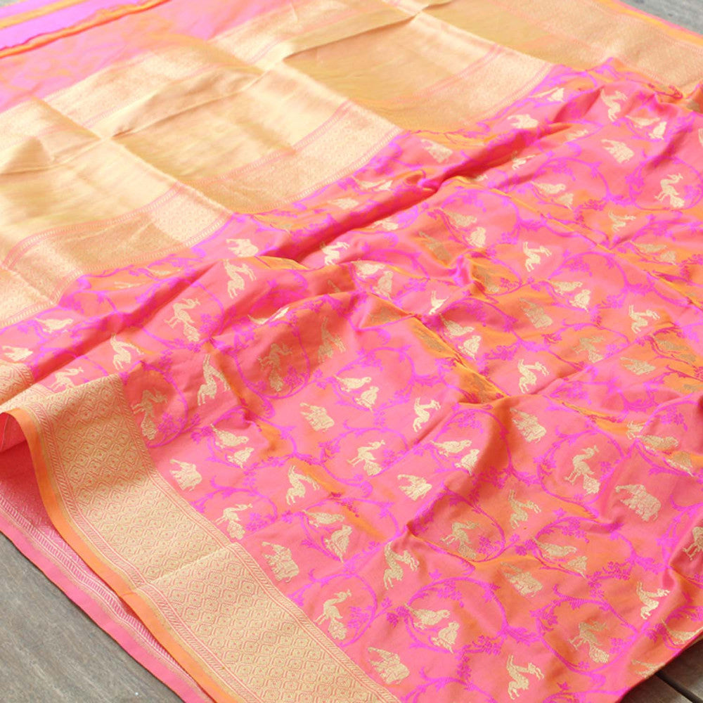 Gold-Gulabi Pure Katan Silk Dupatta & Yellow Pure Katan Silk Fabric