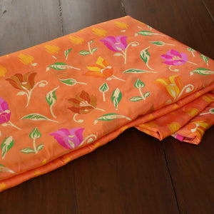 Yellow-Peach Orange Pure Katan Silk Banarasi Handloom Saree - Tilfi - 1