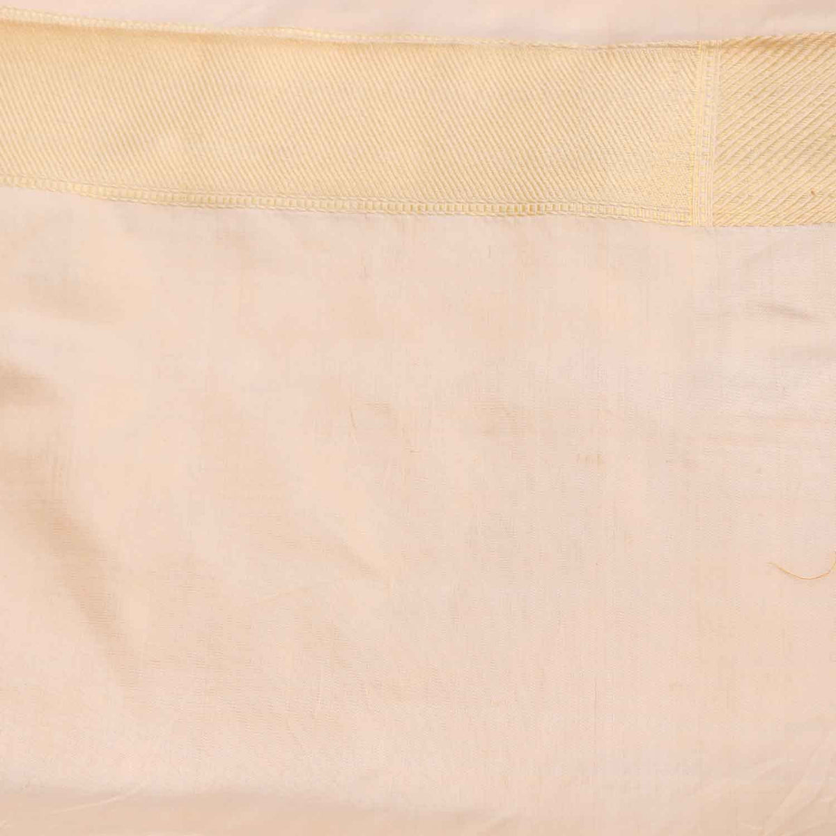White Pure Soft Satin Silk Banarasi Handloom Saree - Tilfi - 4