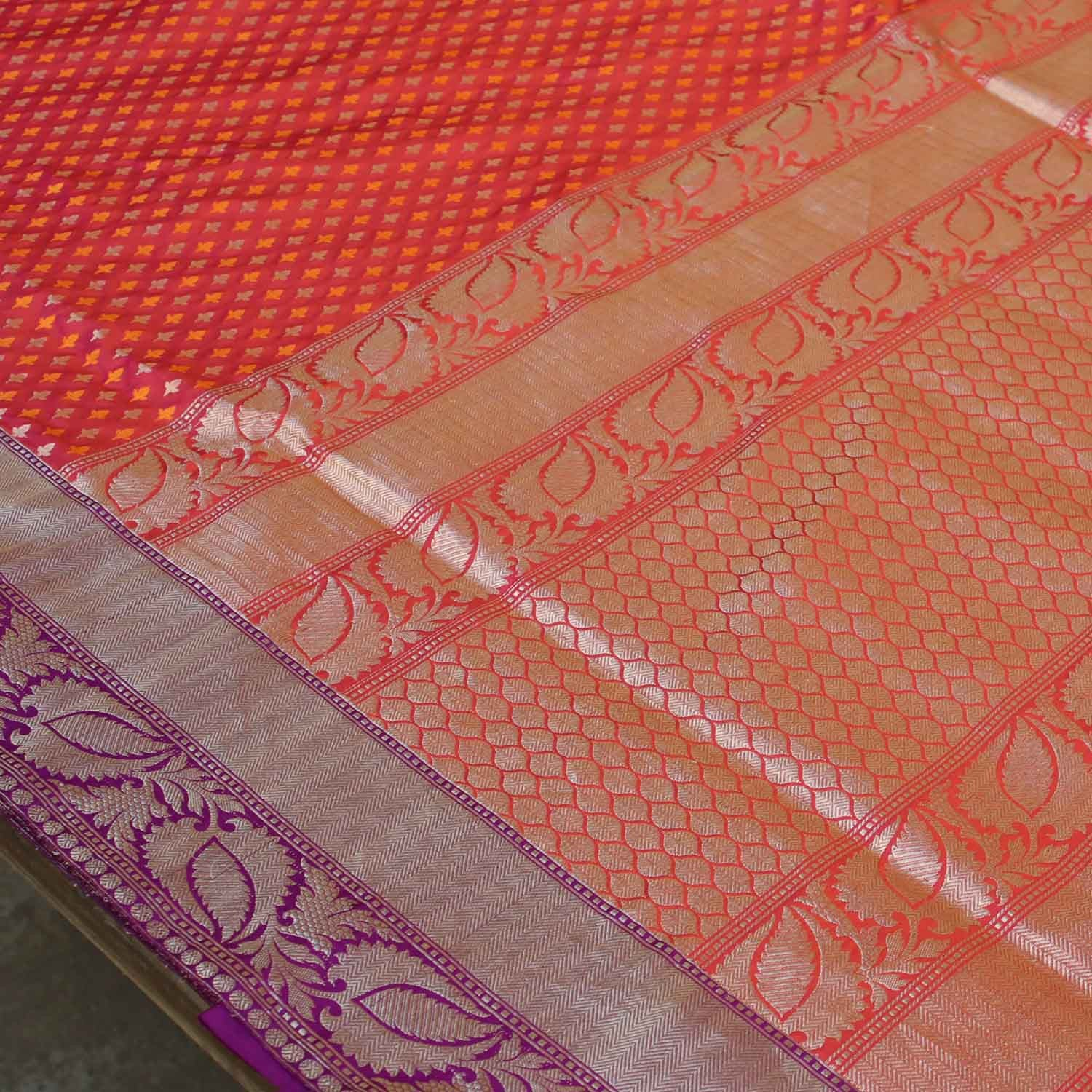 Orange-Indian Pink Pure Katan Silk Banarasi Handloom Saree - Tilfi - 2