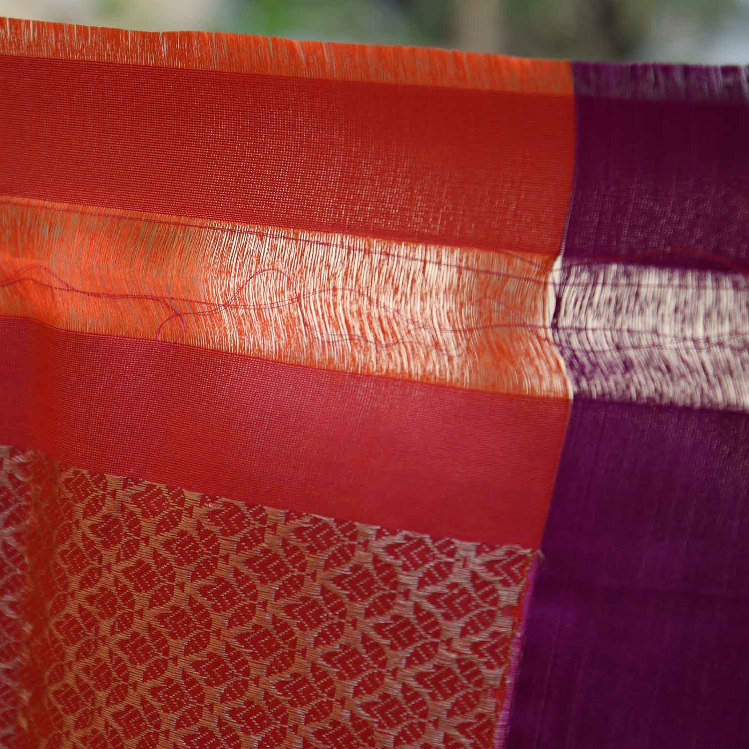Orange-Indian Pink Pure Katan Silk Banarasi Handloom Saree - Tilfi - 5