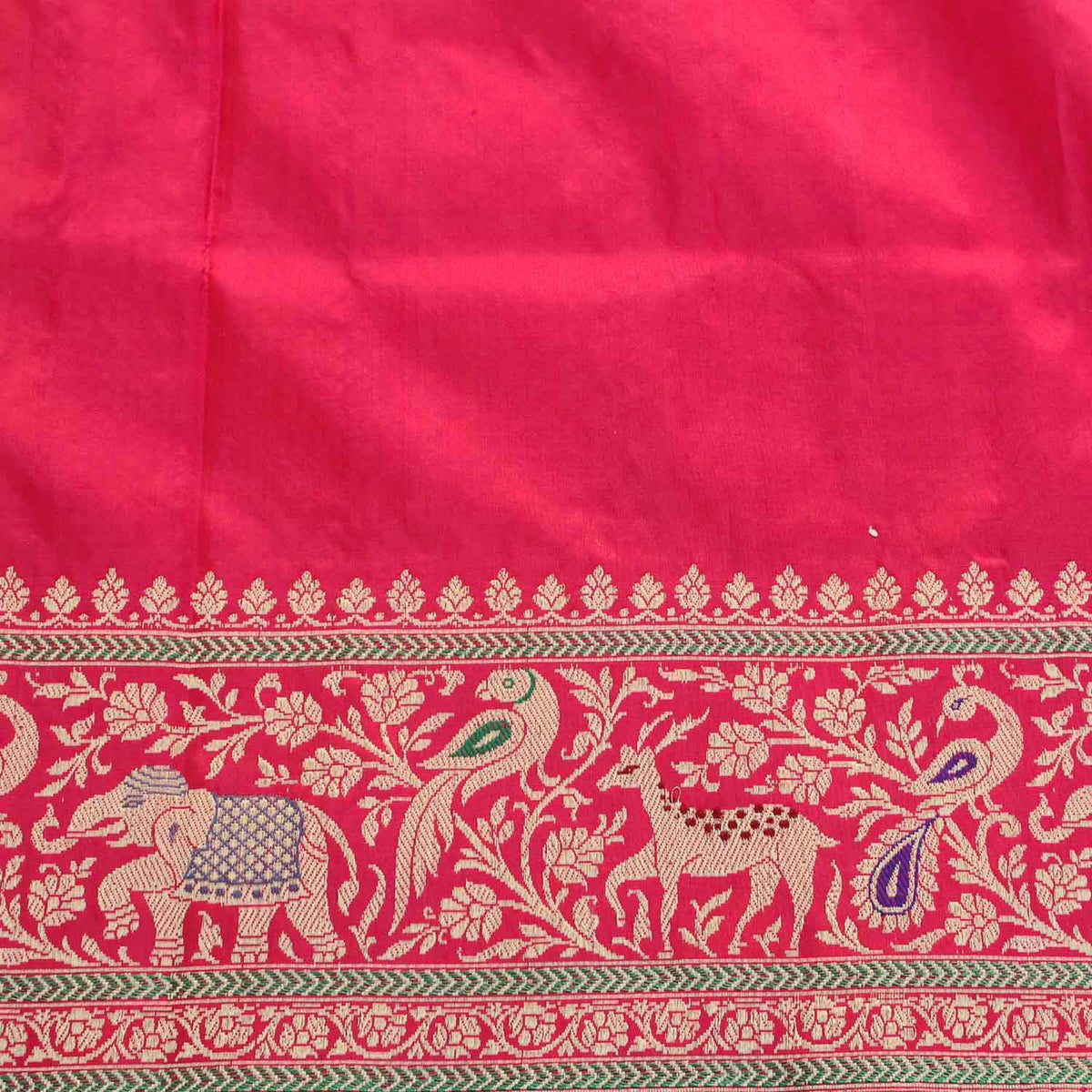Red-Indian Pink Pure Katan Silk Banarasi Handloom Saree - Tilfi - 5