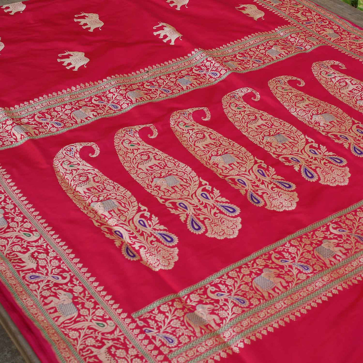 Red-Indian Pink Pure Katan Silk Banarasi Handloom Saree - Tilfi - 2