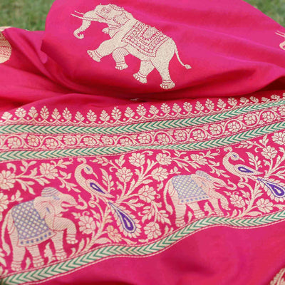 Red-Indian Pink Pure Katan Silk Banarasi Handloom Saree - Tilfi - 1