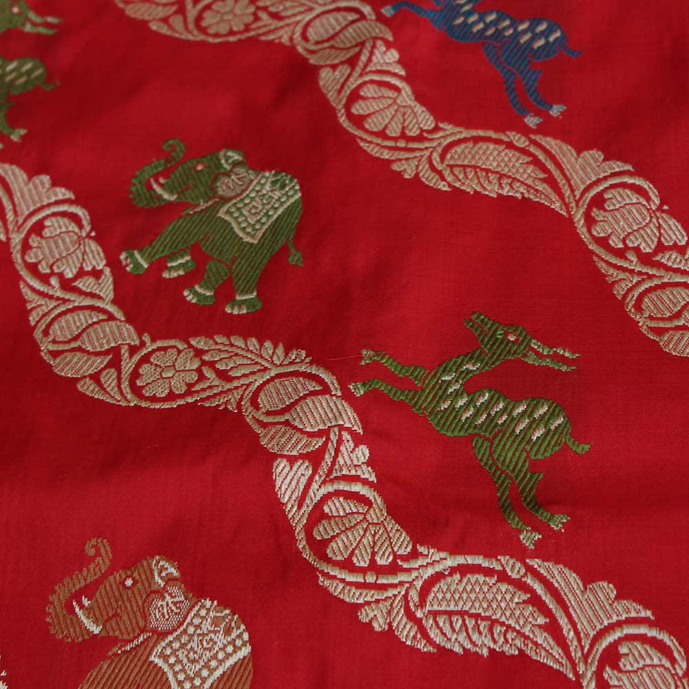 Red Pure Katan Silk Banarasi Handloom Saree - Tilfi - 4