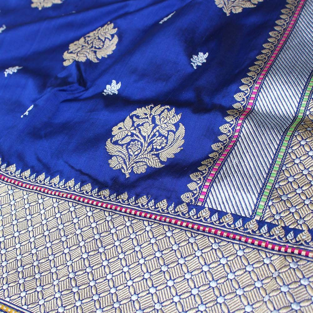 Midnight Blue Pure Katan Silk Banarasi Handloom Saree - Tilfi - 5
