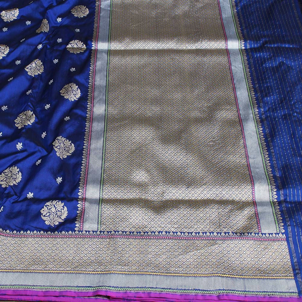Midnight Blue Pure Katan Silk Banarasi Handloom Saree - Tilfi
