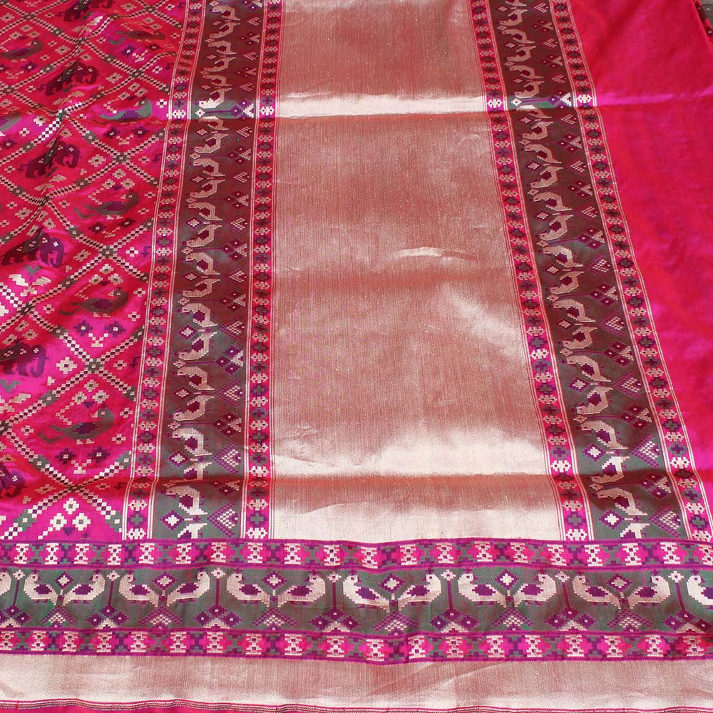 Red-Indian Pink Pure Katan Silk Banarasi Handloom Saree - Tilfi - 3