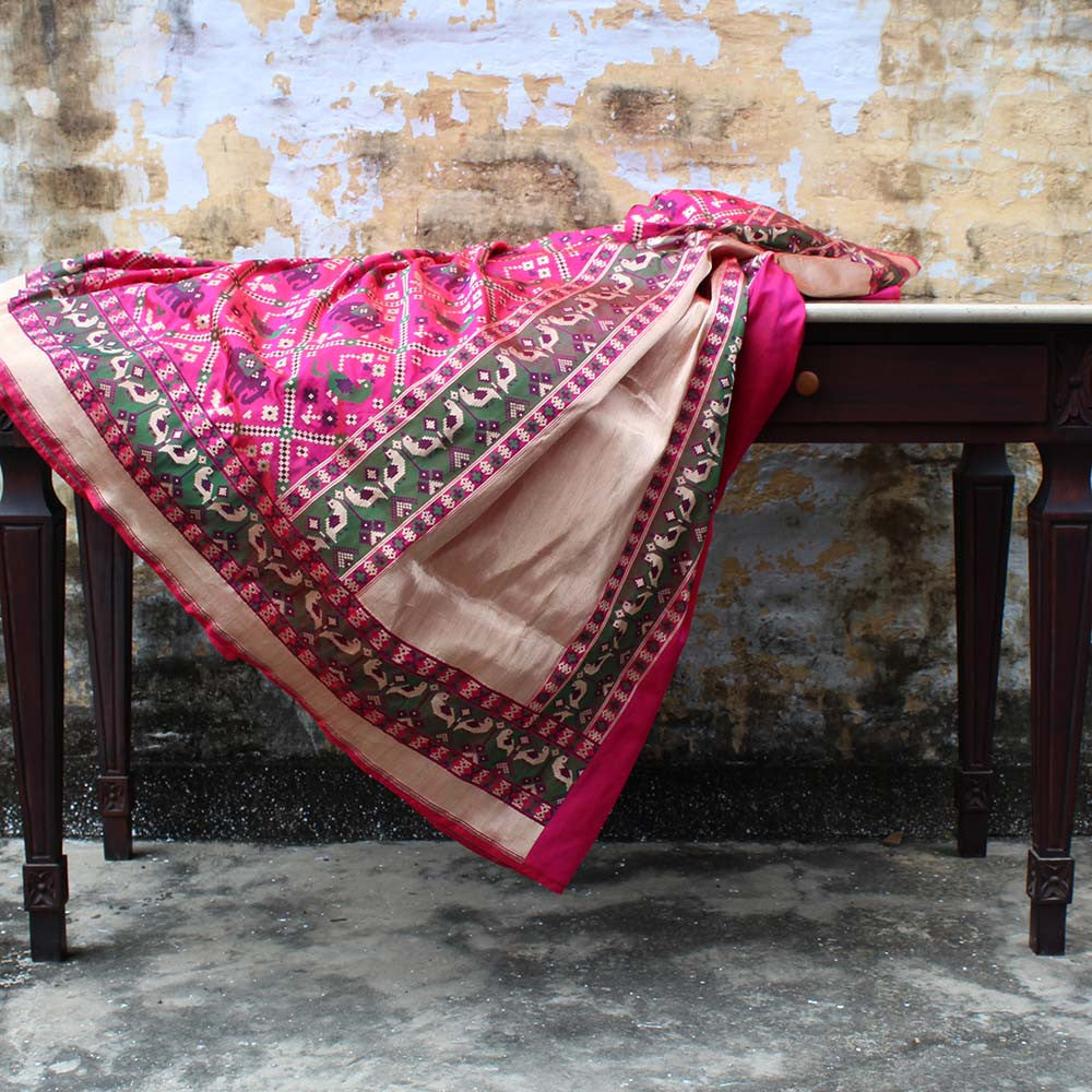 Red-Indian Pink Pure Katan Silk Banarasi Handloom Saree - Tilfi