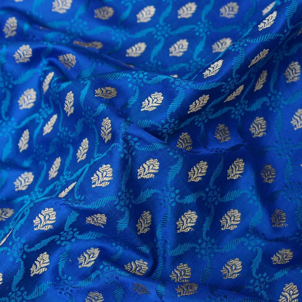 Royal Blue Pure Katan Silk Banarasi Handloom Saree - Tilfi - 3