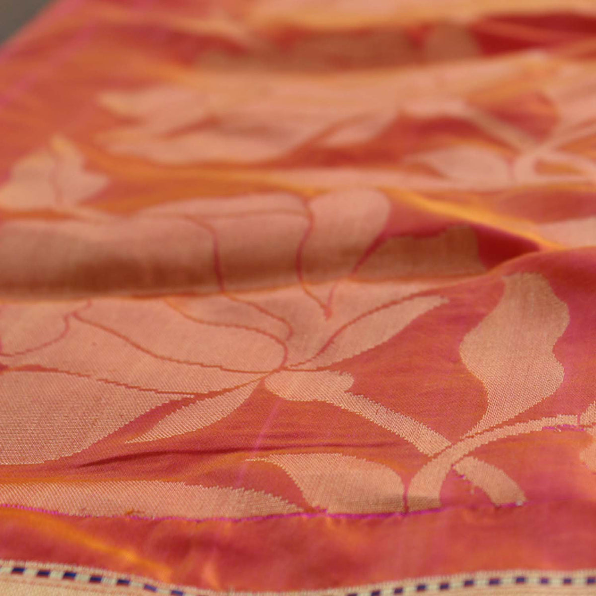 Orange-Indian Pink Pure Katan Silk Banarasi Handloom Saree - Tilfi - 4