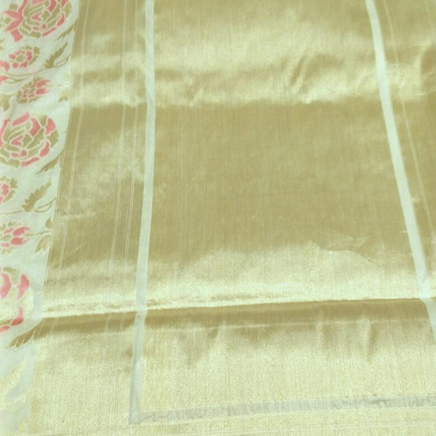 Off-white Pure Katan Silk Banarasi Handloom Saree - Tilfi - 2