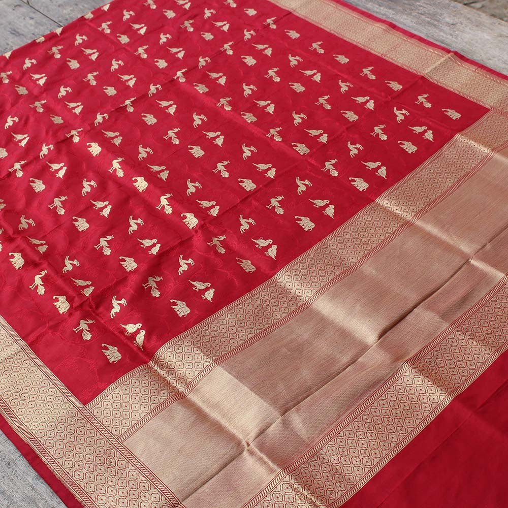 Red Pure Katan Silk Dupatta & Beige Pure Katan Silk Fabric