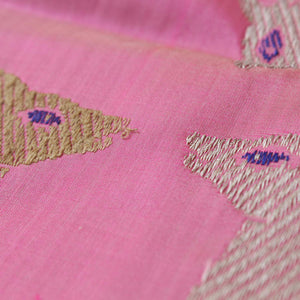 Rose Pink Shot Color Pure Katan Silk Banarasi Handloom Saree - Tilfi - 1