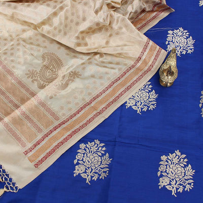 Cream Pure Katan Silk Dupatta & Royal Blue Pure Katan Silk Fabric