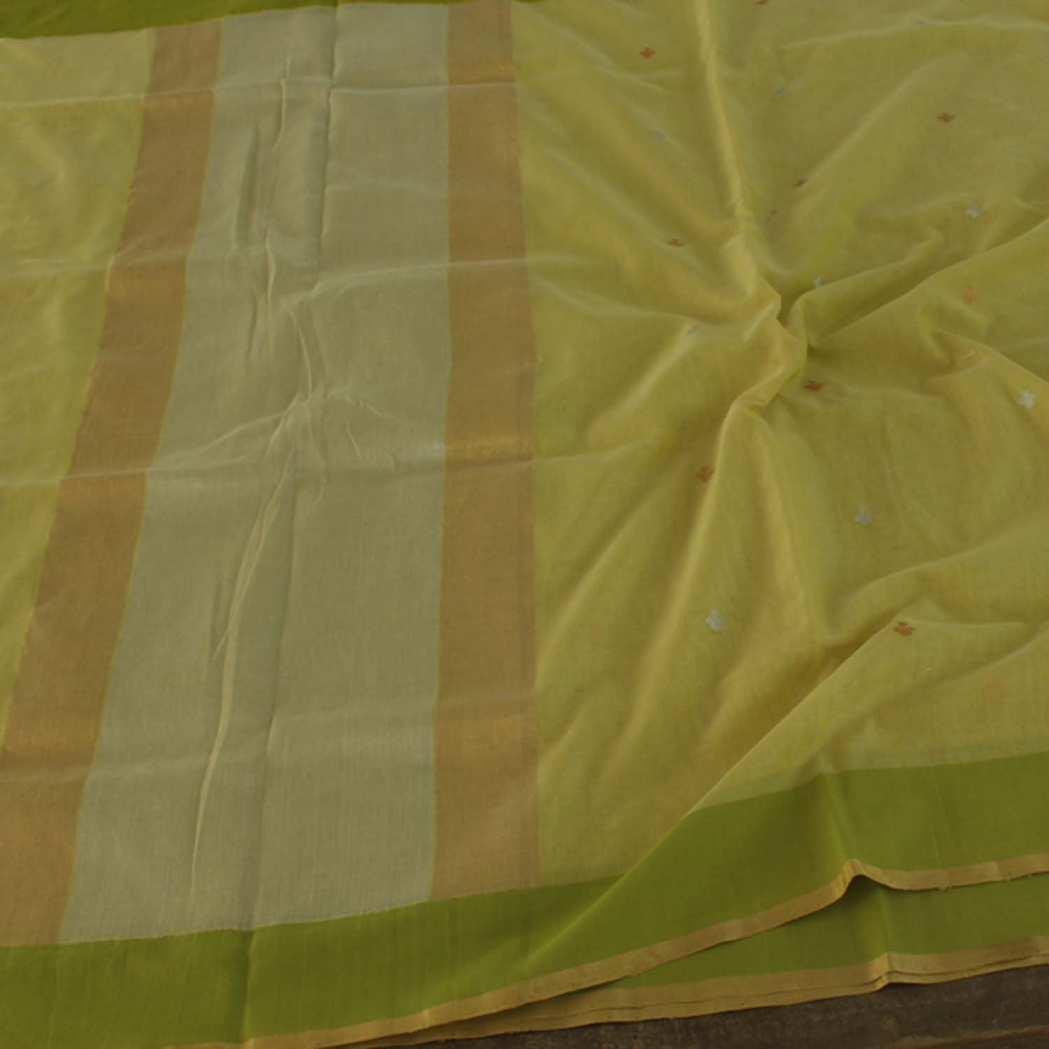 Lime Green Pure Silk By Cotton Banarasi Handloom Saree - Tilfi
