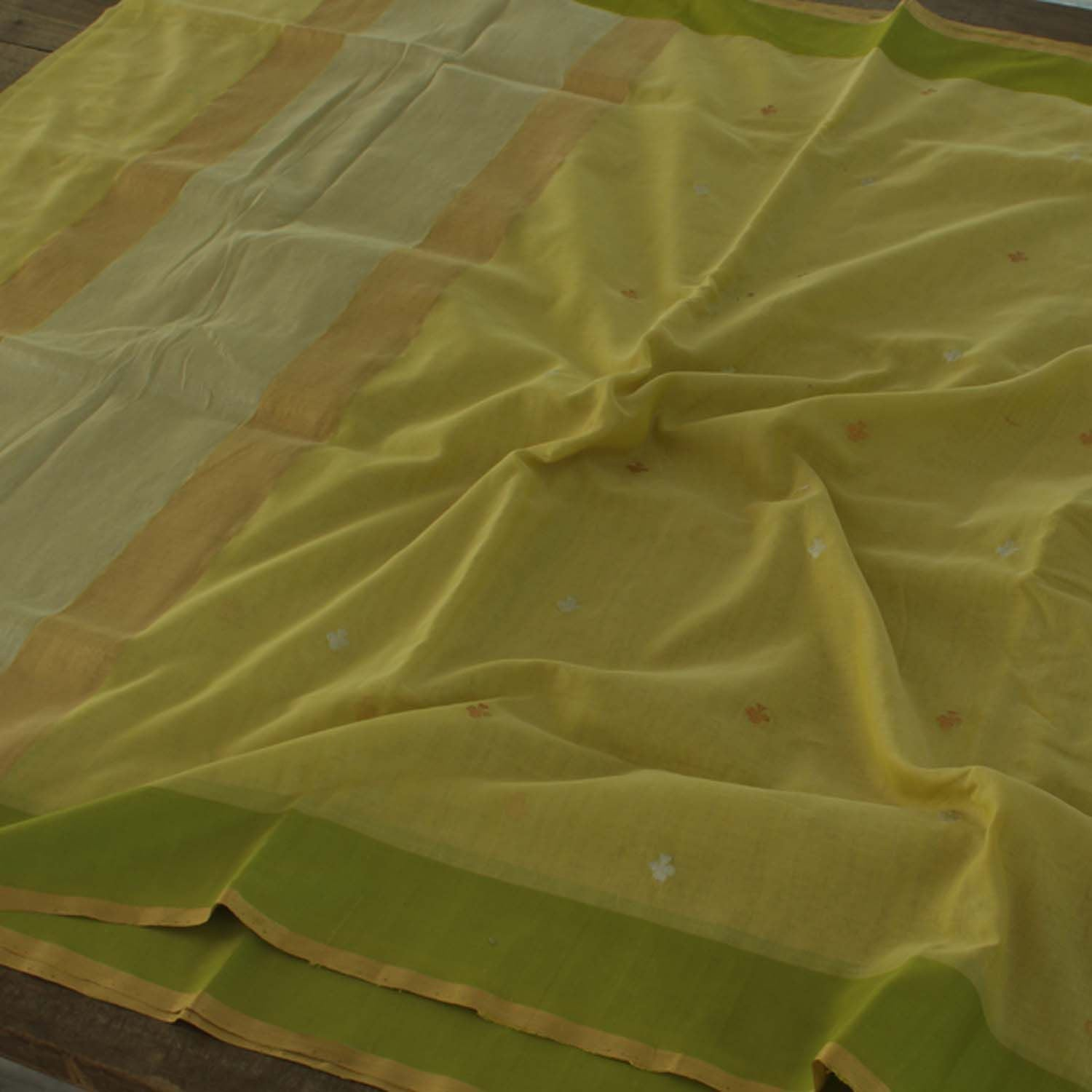 Lime Green Pure Silk By Cotton Banarasi Handloom Saree - Tilfi - 3