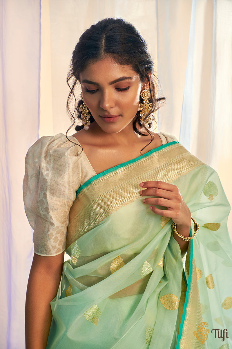 Aqua Green Pure Kora Silk Handwoven Banarasi Saree