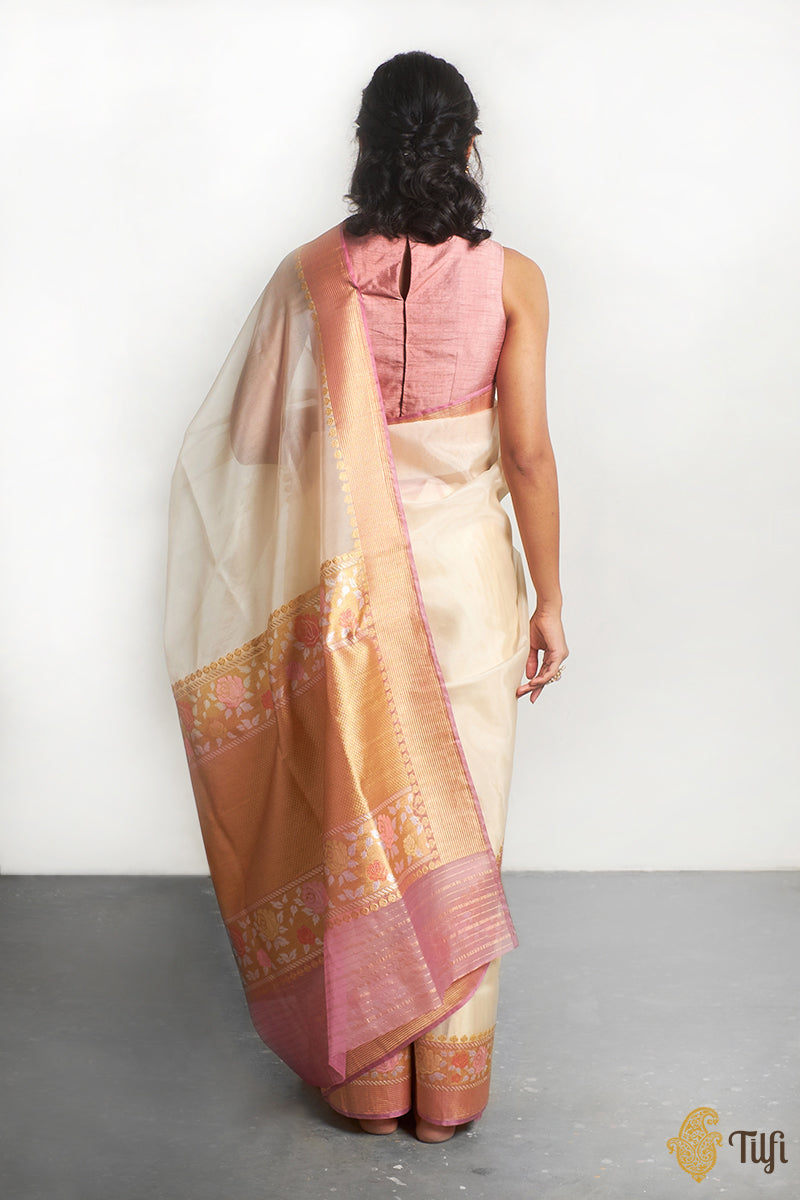 Off-White Pure Kora Silk Banarasi Handloom Saree