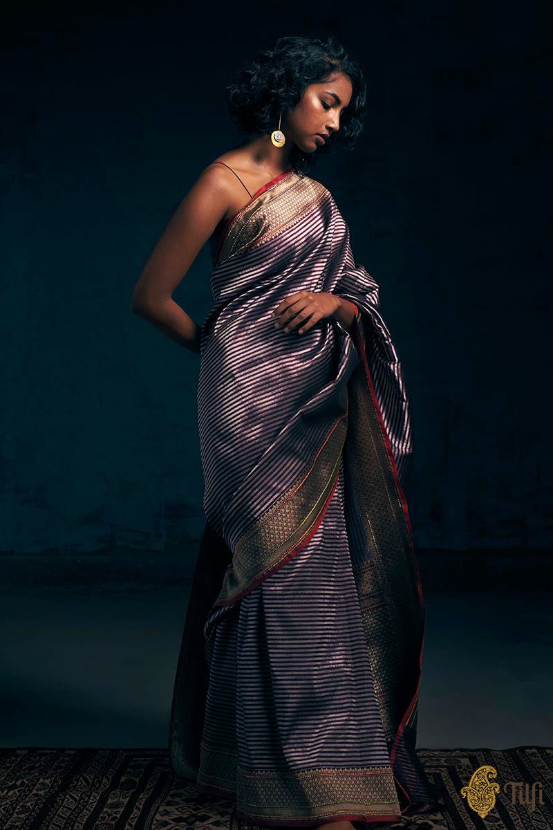 Pre-Order: Deep Purple Pure Katan Silk Banarasi Handloom Saree