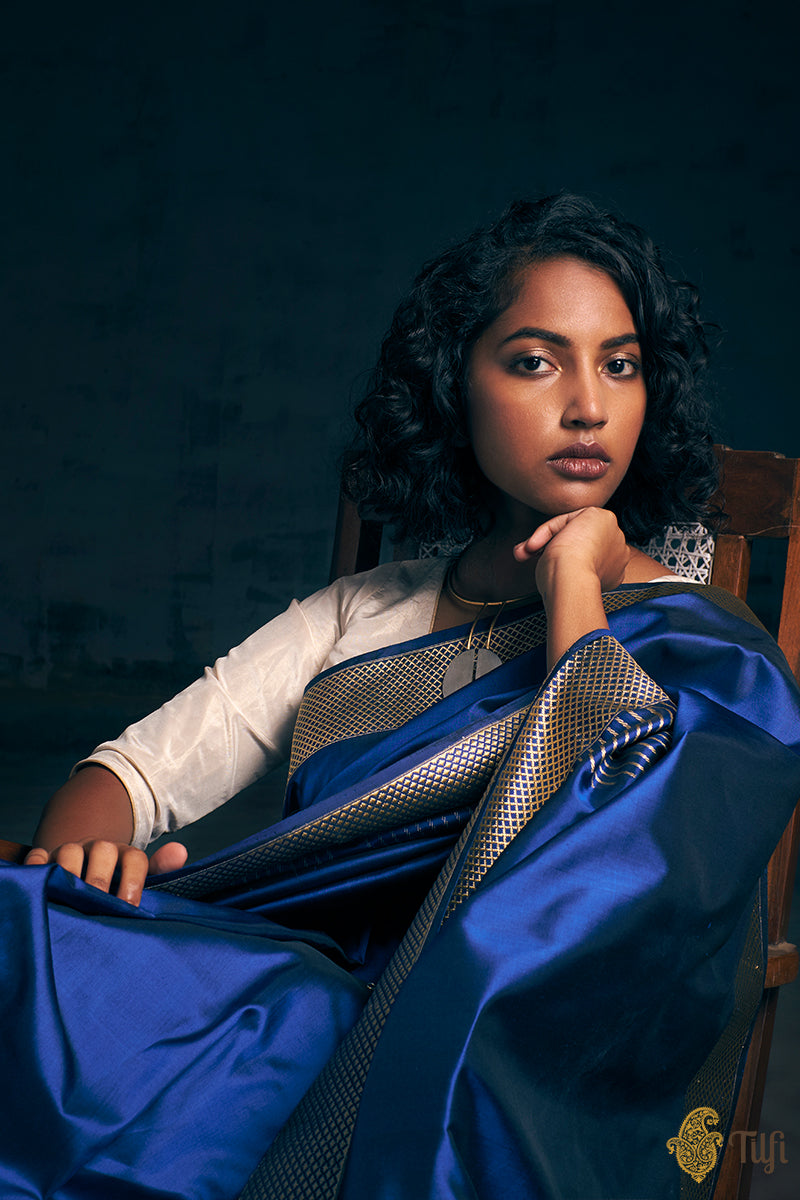 Pre-Order: Midnight Blue Pure Katan Silk Banarasi Handloom Saree