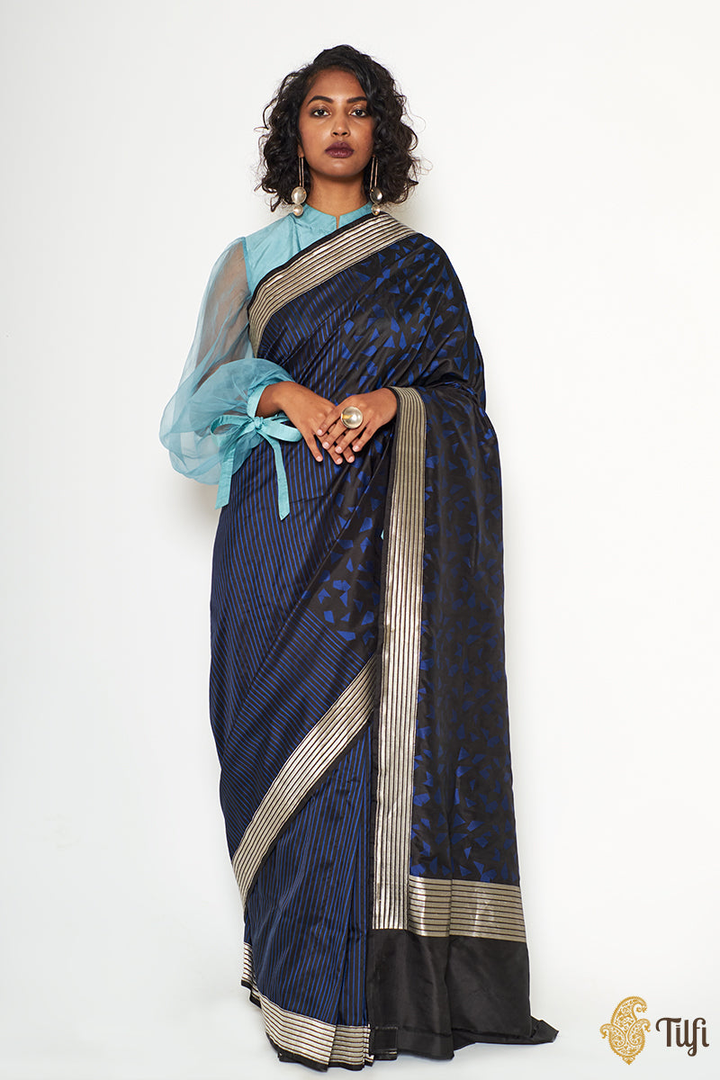 Black-Midnight Blue Pure Katan Silk Banarasi Handloom Saree