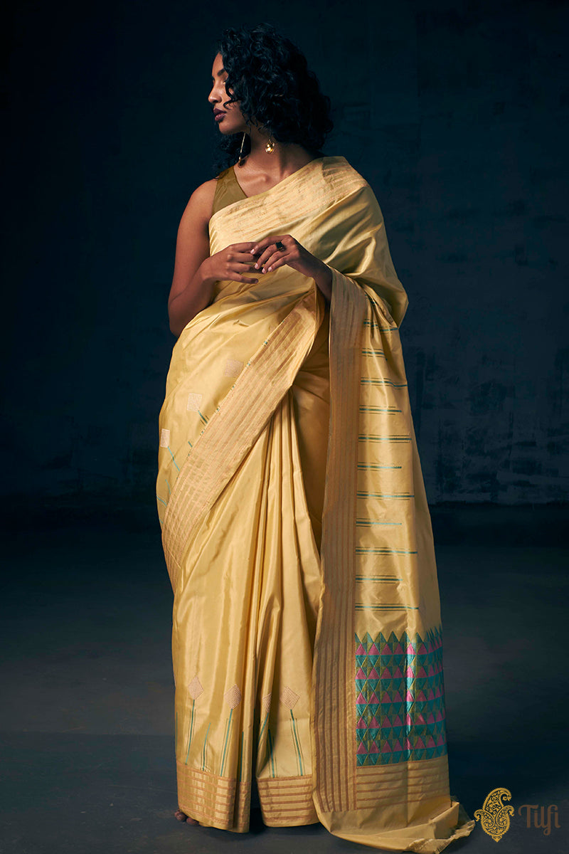 Light Yellow Pure Katan Silk Banarasi Handloom Saree