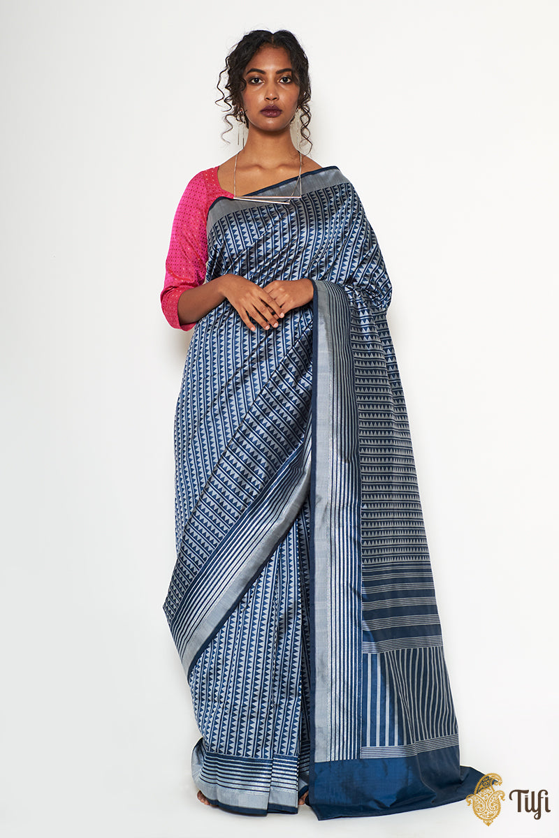Prussian Blue-Grey Pure Katan Silk Banarasi Handloom Saree