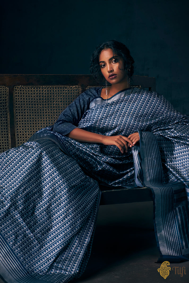 Pre-Order: Prussian Blue-Grey Pure Katan Silk Banarasi Handloom Saree