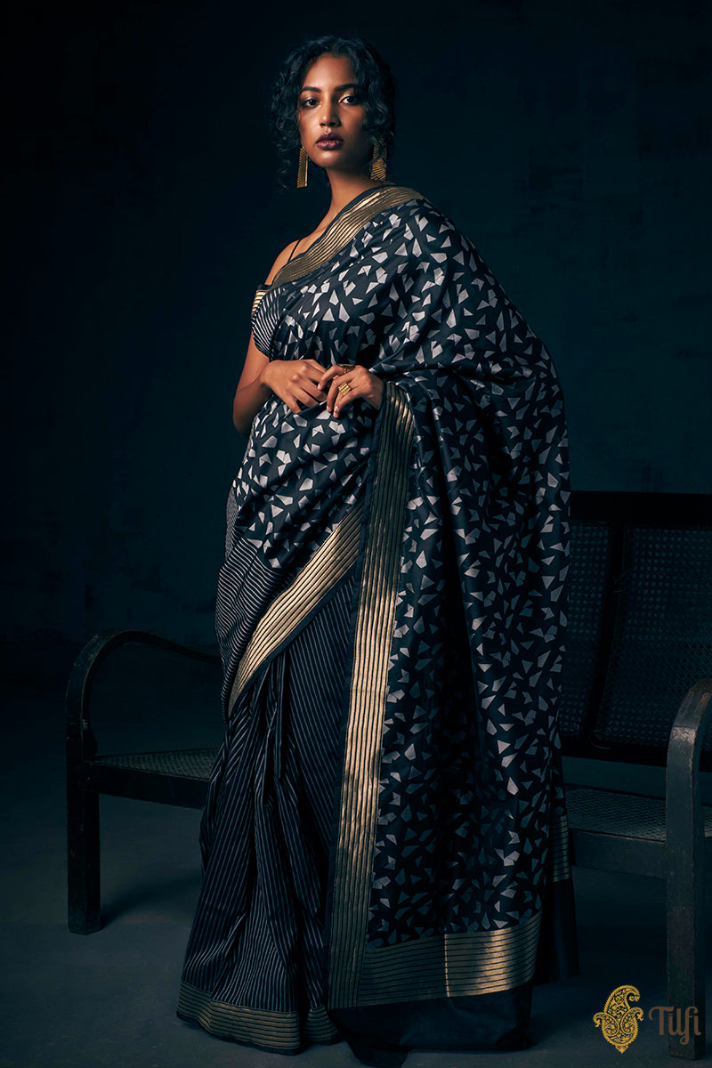 Black-Grey Pure Katan Silk Banarasi Handloom Saree