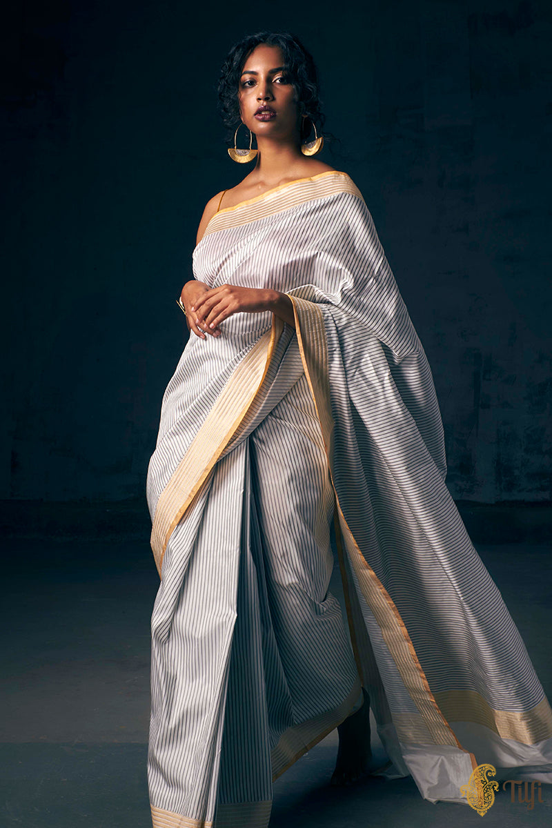 Pre-Order: White-Black Pure Katan Silk Banarasi Handloom Saree