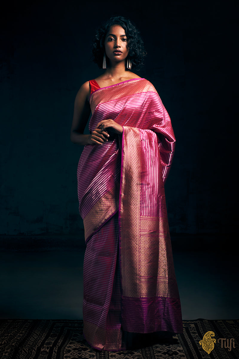 Red-Magenta Pure Katan Silk Banarasi Handloom Saree