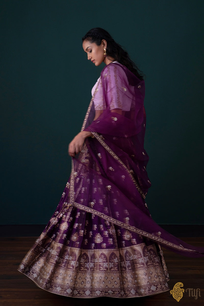 Purple Pure Katan Silk Banarasi Handloom Lehenga Set