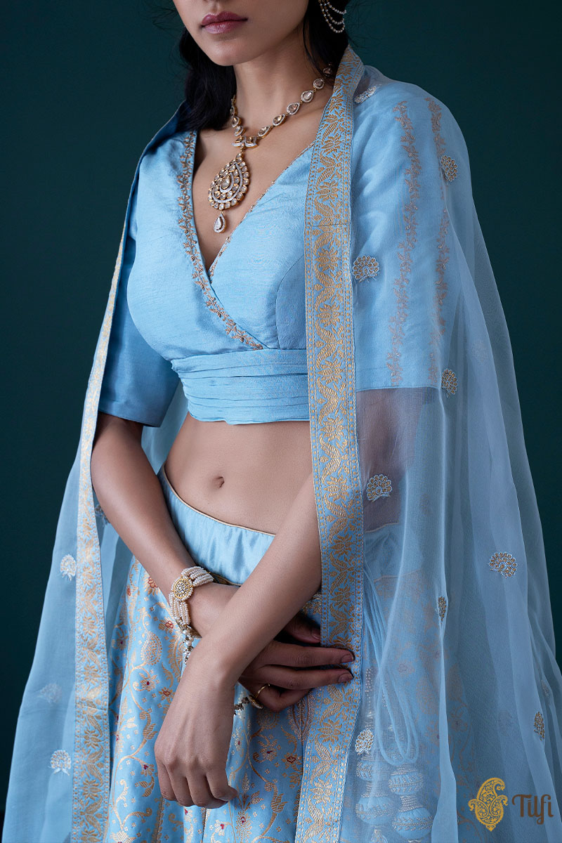 Powder Blue Pure Katan Silk Banarasi Handloom Lehenga Set