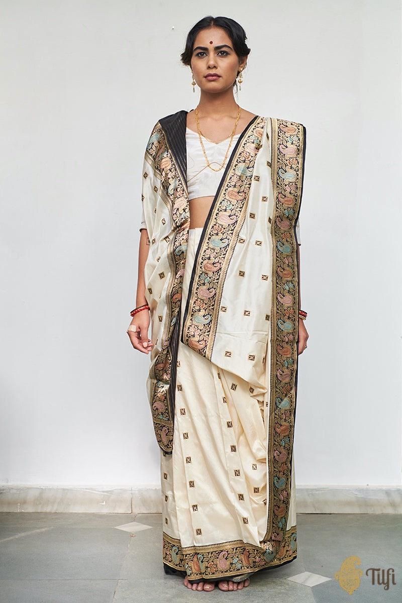 Pre-Order: Off-White - Black Pure Katan Silk Banarasi Handloom Saree