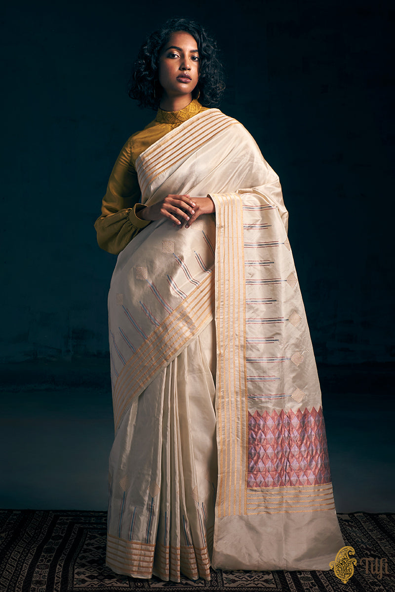 Off-White Pure Katan Silk Tissue Banarasi Handloom Saree