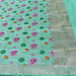 Sea Green Pure Katan Silk Banarasi Handloom Dupatta