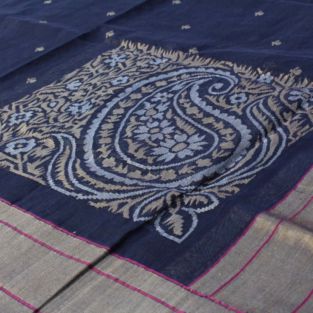 Navy Blue Pure Cotton Banarasi Handloom Dupatta
