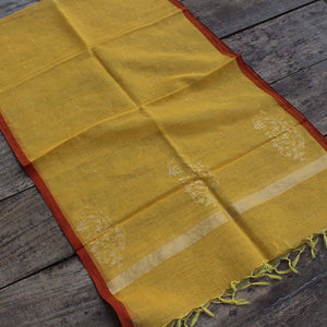 Yellow Pure Cotton Real Zari Banarasi Handloom Stole