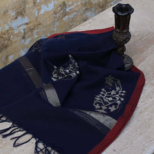 Navy Blue Pure Cotton Real Zari Banarasi Handloom Stole